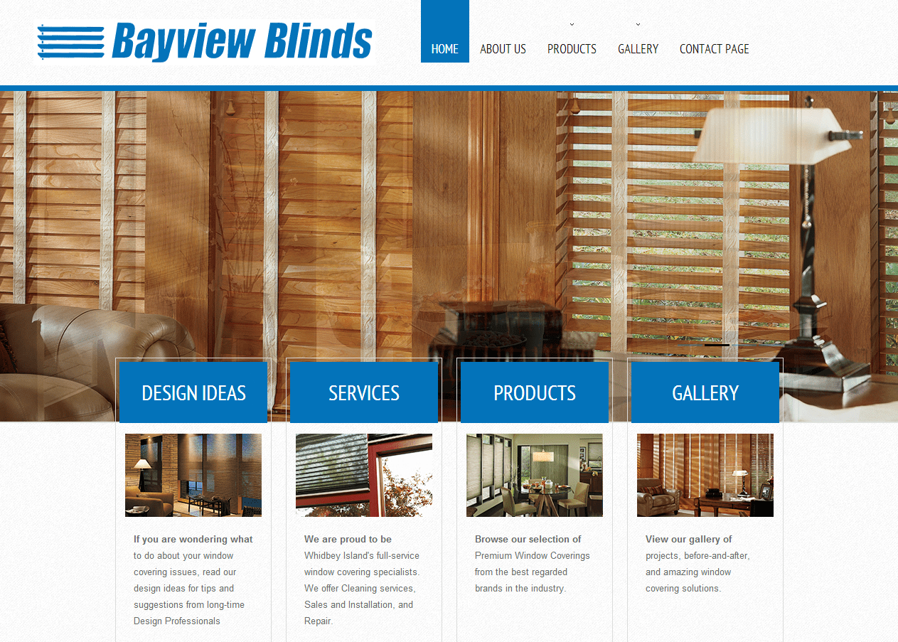 Web design - bayview blinds